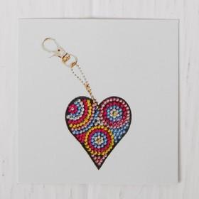 Алмазная вышивка-брелок «Сердечко с кружочками», заготовка: 5,5 × 6 см