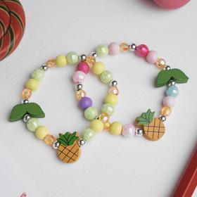 Браслет детский 'Выбражулька' ананас с листочками, цвет МИКС Ош
