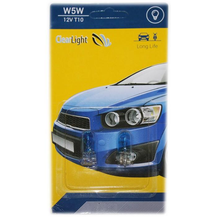 Лампа автомобильная, W5W T10 blue, Clearlight