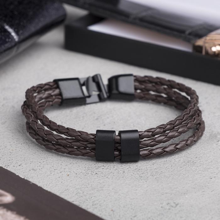 """Браслет мужской """"Власть"""" трио, цвет коричневый в чёрном металле, L=20,5 см"""
