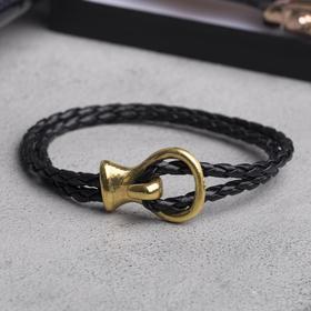 Браслет мужской 'Петля', цвет чёрный в золоте, L=22,7 см Ош