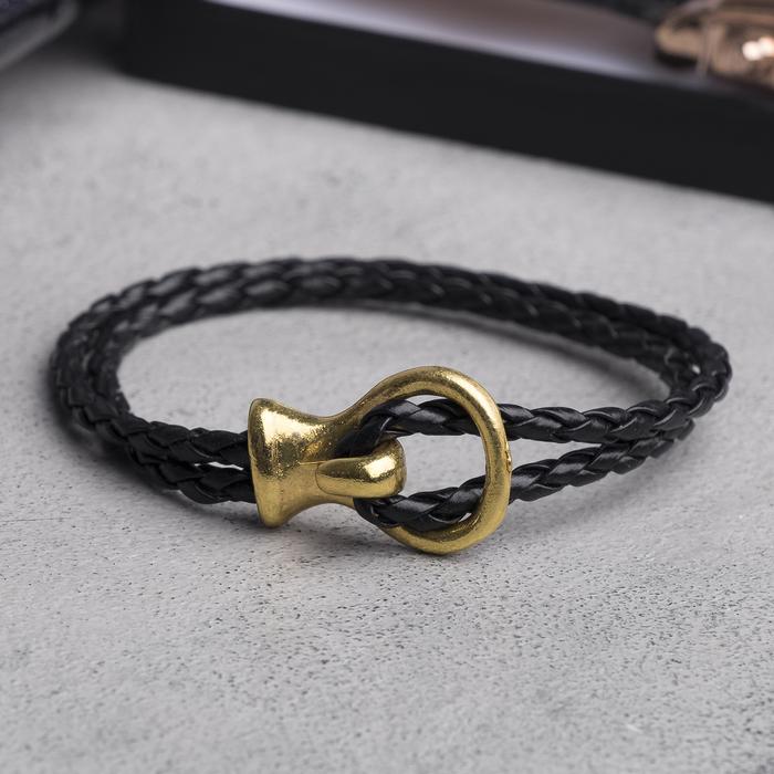 """Браслет мужской """"Петля"""", цвет чёрный в золоте, L=22,7 см"""