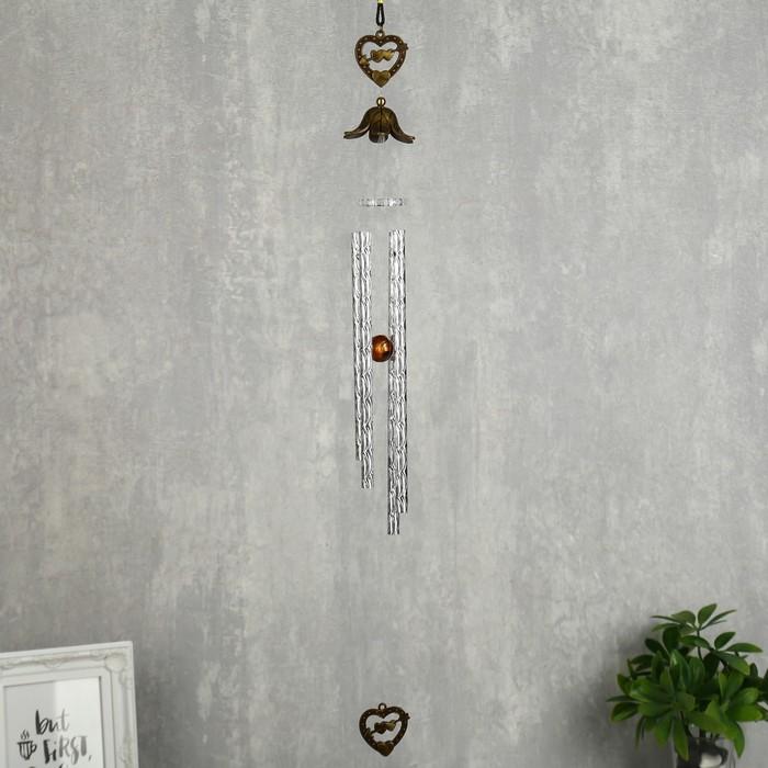 Музыка ветра металл Двойное сердце со стрелой 4 трубочки 56 см