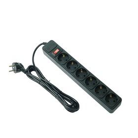 Сетевой фильтр 5bites SP6B-130 6S, 6 розеток, 3 м, 10 А, 3х0.75 мм2, с выкл., черный