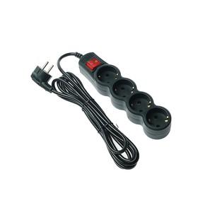Сетевой фильтр 5bites SP4B-130 4S, 4 розетки, 3 м, 10 А, 3х0.75 мм2, с выкл., черный