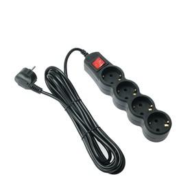 Сетевой фильтр 5bites SP4B-150 4S, 4 розетки, 5 м, 10 А, 3х0.75 мм2, с выкл., черный