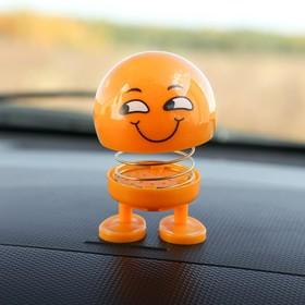 Смайл на пружинке, на панель в авто, улыбка, желтый Ош