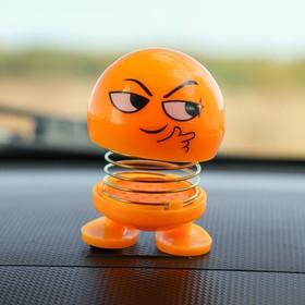 Смайл на пружинке, на панель в авто, хитрый, желтый Ош