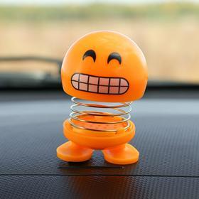 Смайл на пружинке, на панель в авто, смех, желтый Ош