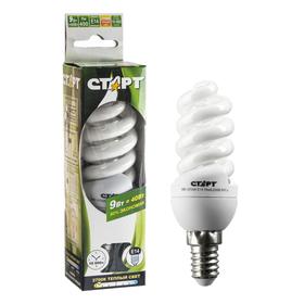 """Лампа энергосберегающая """"Старт"""" 9WFSP, Е14, 9 Вт, 2700 К, 230 В, теплый белый"""