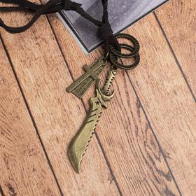 Мужской кулон 'Резон' нож, цвет чернёное золото на коричневом шнурке, 80 см Ош