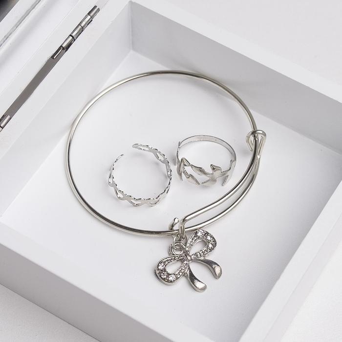 Набор детский Выбражулька 3 предмета браслет, 2 кольца, бабочка, цвет белый в серебре