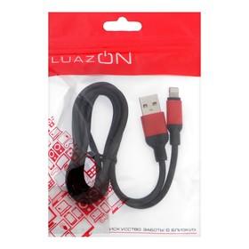 Кабель LuazON, Lightning - USB, 1 А, 1 м, черный