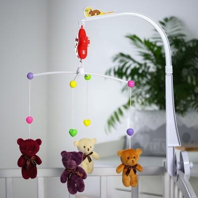 Мобиль музыкальный «Мишки Лав», заводной, с мягкими игрушками - Фото 1
