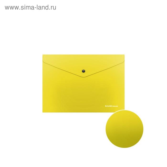 Папка-конверт на кнопке А5+, полупрозрачная, Erich Krause Glossy Neon, микс