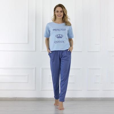 Комплект женский (футболка, брюки), цвет синий, размер 44 - Фото 1
