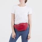 Сумка поясная, отдел на молнии, наружный карман, цвет красный - Фото 4
