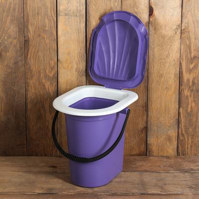 Ведро-туалет, 18 л, съёмный стульчак, фиолетовый