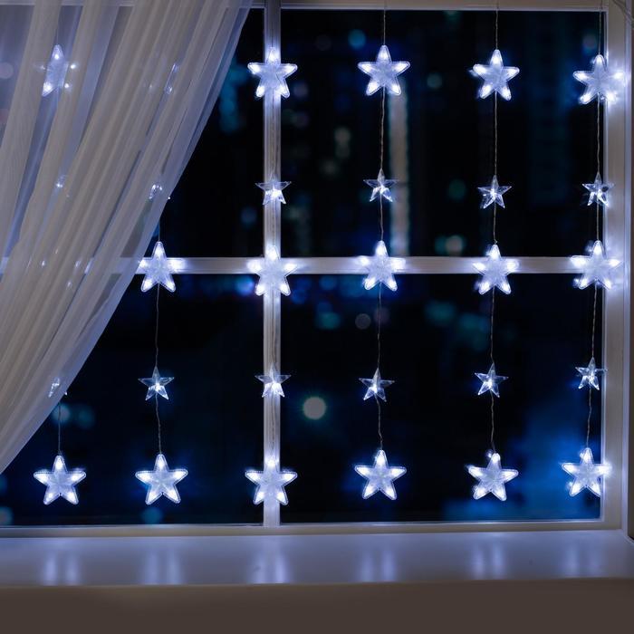 """Гирлянда """"Бахрома"""" 2.4 х 0.9 м с насадками """"Звёздочки"""", IP20, прозрачная нить, 186 LED, свечение белое, 8 режимов, 220 В"""