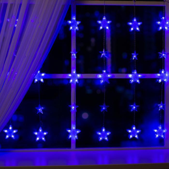 """Гирлянда """"Бахрома"""" 2.4 х 0.9 м с насадками """"Звёздочки"""", IP20, прозрачная нить, 186 LED, свечение синее, 8 режимов, 220 В"""