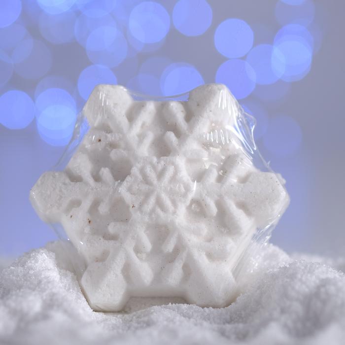 Бурлящая соль для ванны «Снежинка», белая, с ароматом ванили, 100 г
