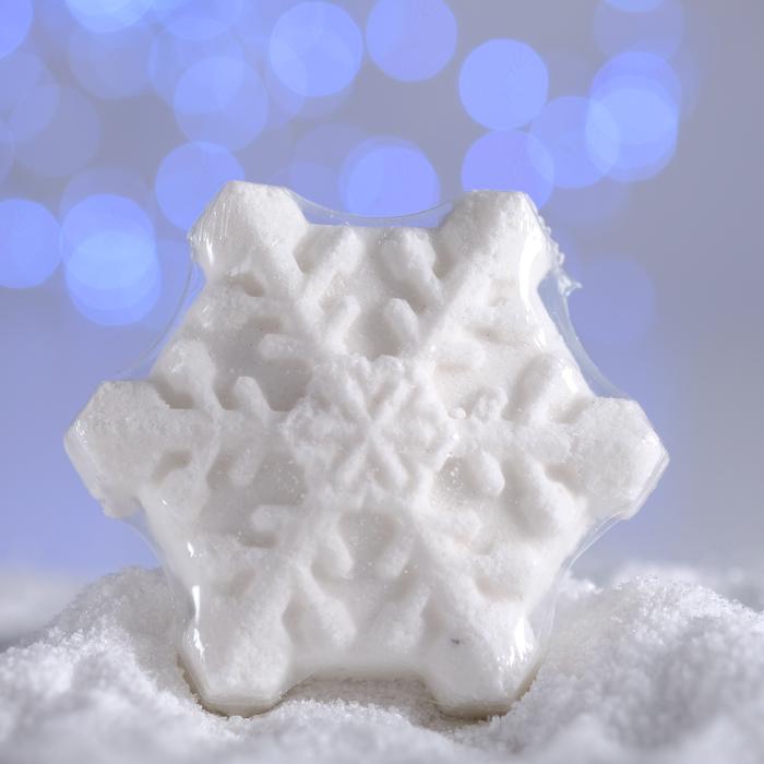 Бурлящая соль для ванны «Снежинка», белая, с маслом мандарина, 100 г