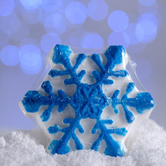 Бурлящая соль для ванны «Снежинка», синяя, с ароматом печенья, 100 г