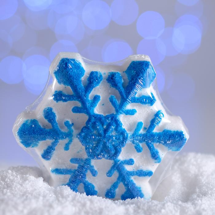 Бурлящая соль для ванны «Снежинка», синяя, с маслом мандарина, 100 г
