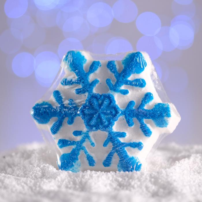 Бурлящая соль для ванны «Снежинка», синяя, с ароматом миндаля, 100 г