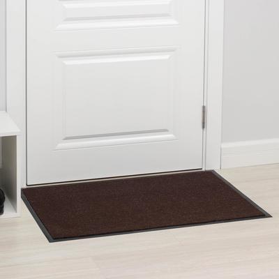 Коврик придверный влаговпитывающий ребристый «Комфорт», 60×90 см, цвет коричневый - Фото 1