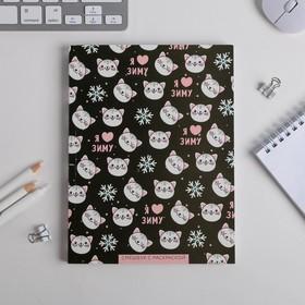 Ежедневник-смэшбук с раскраской Зимняя коллекция 'Котик' , 80 листов Ош