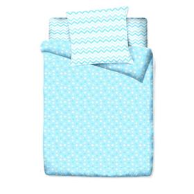 КПБ «Цветные сны», размер 100 х 138 см, 112 х 147 см, 40 х 60 см, цвет голубой