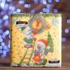 """Новогодние салфетки бумажные Classic """"Снеговички-часовички"""", 1 слой, 33*33 см, 50 листов"""