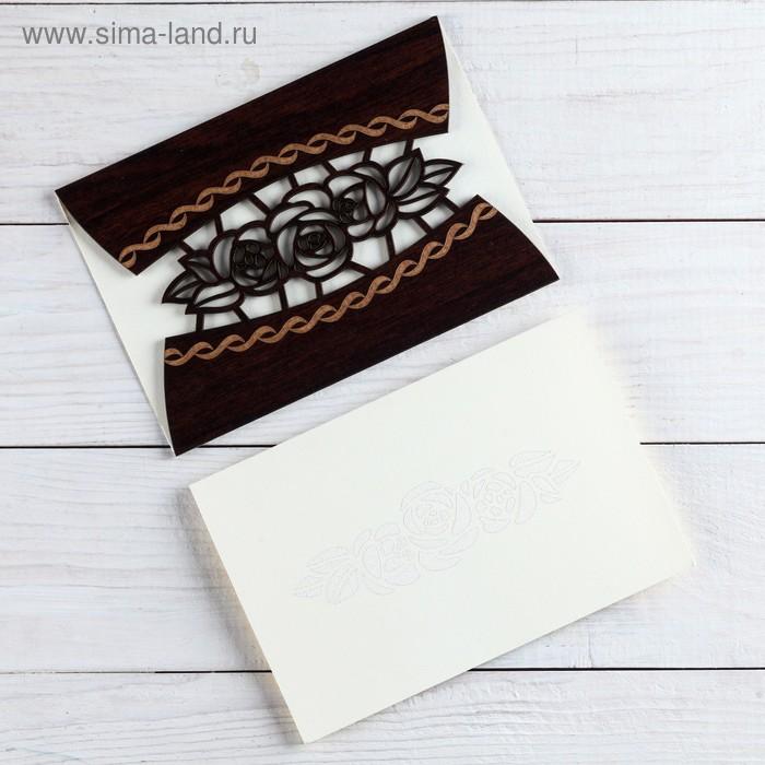 """Деревянная открытка-приглашение """"Свадебная"""" цветы"""