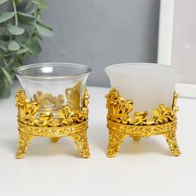 "Подсвечник стекло, пластик на 1 свечу ""Сердце из листьев сердце"" золото 6,5х6х6 см"