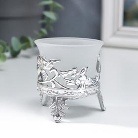"""Подсвечник стекло, пластик на 1 свечу """"Цветы"""" серебро 6,5х6х6 см"""