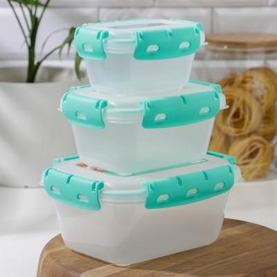 Набор контейнеров герметичных, №3, 3 шт: 380 мл; 0,8 л; 1,5 л - Фото 1