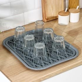 Поднос с вкладышем для сушки посуды «Колос», 45,5×36 см, цвет МИКС
