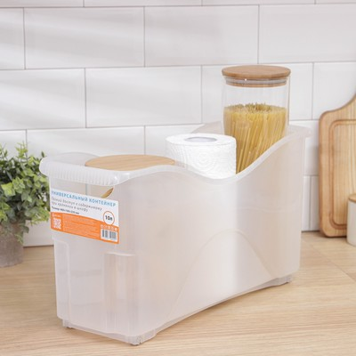 Контейнер для хранения хозяйственный на колёсах Альт-Пласт, 10 л, 45×15×23 см, прозрачный