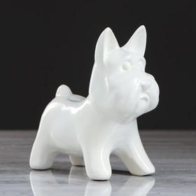 Копилка 'Собачка Агнес', глазурь, белый цвет, 16 см Ош