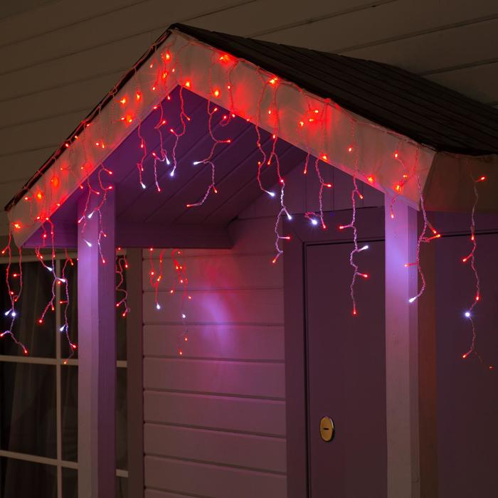 """Гирлянда """"Бахрома"""" 3 х 0.6 м , IP44, УМС, прозрачная нить, 160 LED, свечение красное, мерцание белым, 220 В"""