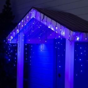"Гирлянда ""Бахрома"" 3 х 0.6 м , IP44, УМС, тёмная нить, 160 SMD-LED, свечение синее, 220 В"