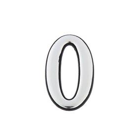 Цифра дверная '0', пластиковая, цвет хром Ош