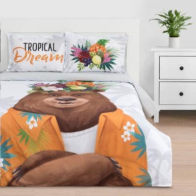 """Постельное белье """"Этель"""" 1.5 сп Tropical dream 143*215 см,150*214 см, 50*70+3 - 2 шт - Фото 1"""