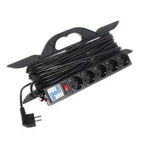 Удлинитель на рамке PowerCube, 5 розеток, 10 м, 16 А, 3500 Вт, черный Ош