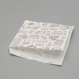 Пакет бумажный фасовочный, «Уголок», белый, с печатью, 16 х 17 см Ош