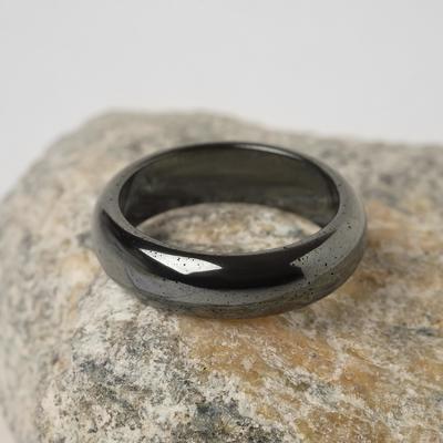 """Кольцо """"Гематит"""" гладкий, 5-6мм, цвет серый, размер МИКС"""