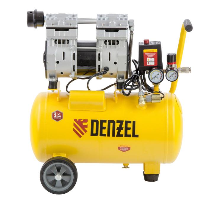 Компрессор Denzel DLS950/24 58026, 950 Вт, 165 л/мин, ресивер 24 л, безмасляный, малошумный