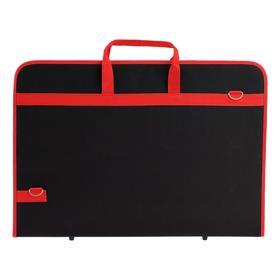 Папка А2, с ручками, текстильная, 640 х 450 х 30 мм, плечевой ремень, Estado, чёрная/красная кант