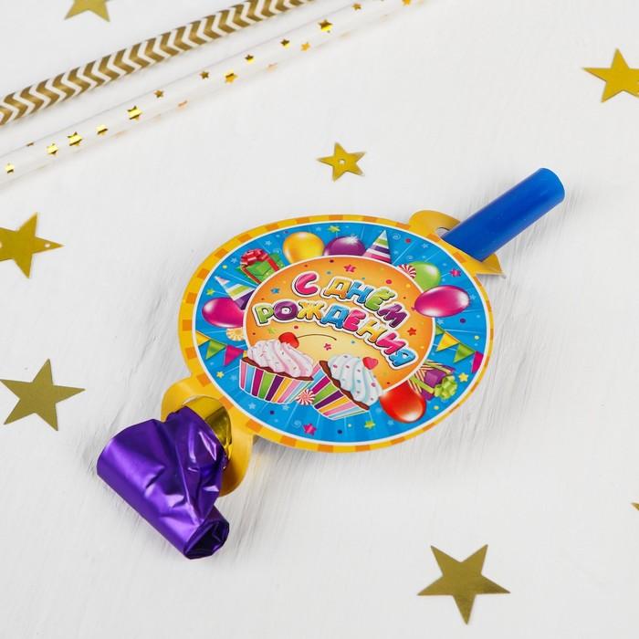 Язычки-гудки С днём рождения, сладости, набор 6 шт.